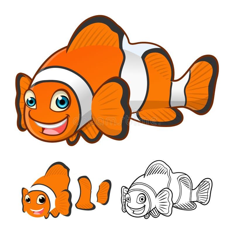 Hoog - het Beeldverhaalkarakter van kwaliteits omvat het Gemeenschappelijke Clownfish Vlakke Ontwerp en Lijn Art Version stock illustratie