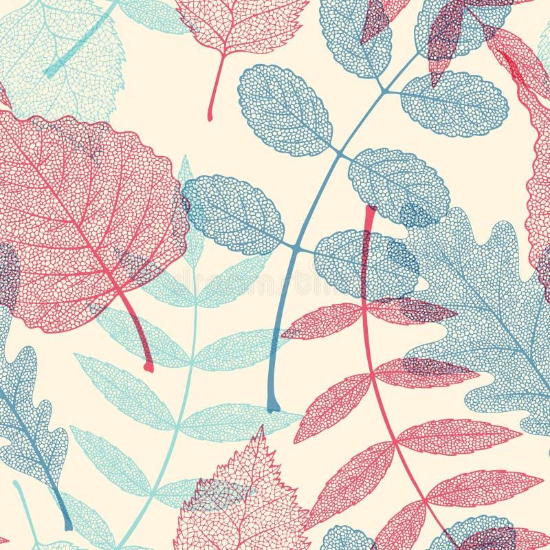 Hoog het blad vector naadloos patroon van het detailskelet vector illustratie