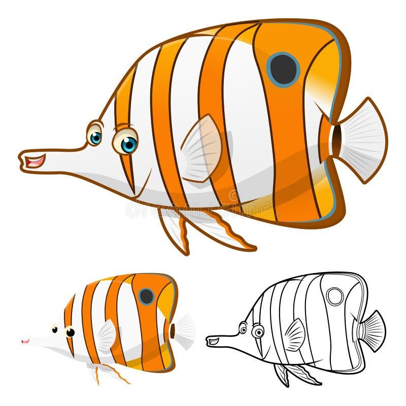Hoog - het het Beeldverhaalkarakter van kwaliteitscopperband Butterflyfish omvat Vlakke Ontwerp en Lijn Art Version vector illustratie
