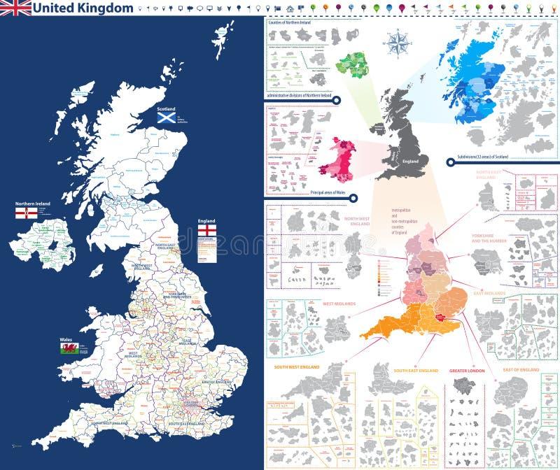 Hoog-High-detailed administratieve eenhedenkaart van het Verenigd Koninkrijk royalty-vrije illustratie
