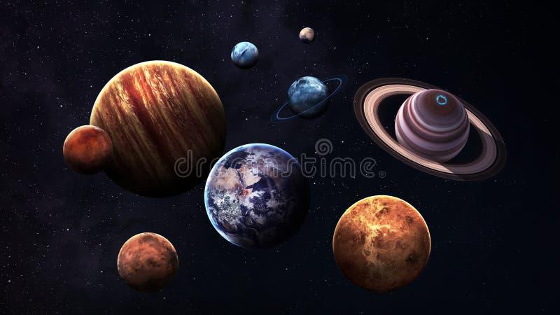 Hoog - kwaliteit geïsoleerde zonnestelselplaneten royalty-vrije illustratie