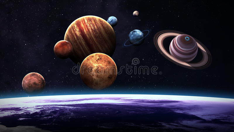 Hoog - kwaliteit geïsoleerde zonnestelselplaneten stock illustratie