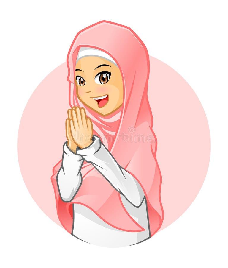 Hoog - kwaliteits Moslimmeisje die Roze Sluier met het Welkom heten Wapens dragen vector illustratie