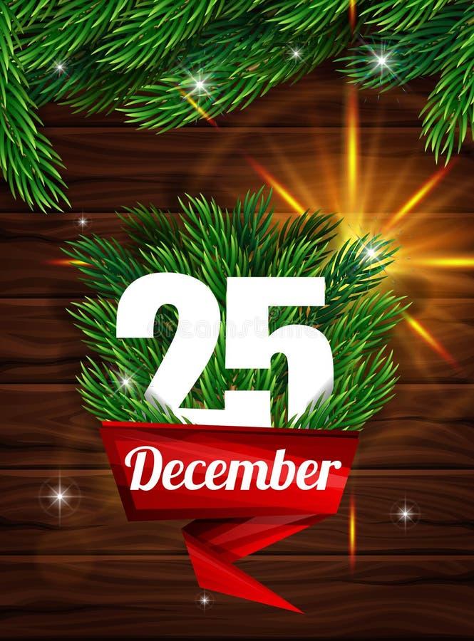 Hoog - kwaliteits realistische affiche voor Kerstmis Realistische spartakken op de achtergrond van donkere houten planken stock illustratie