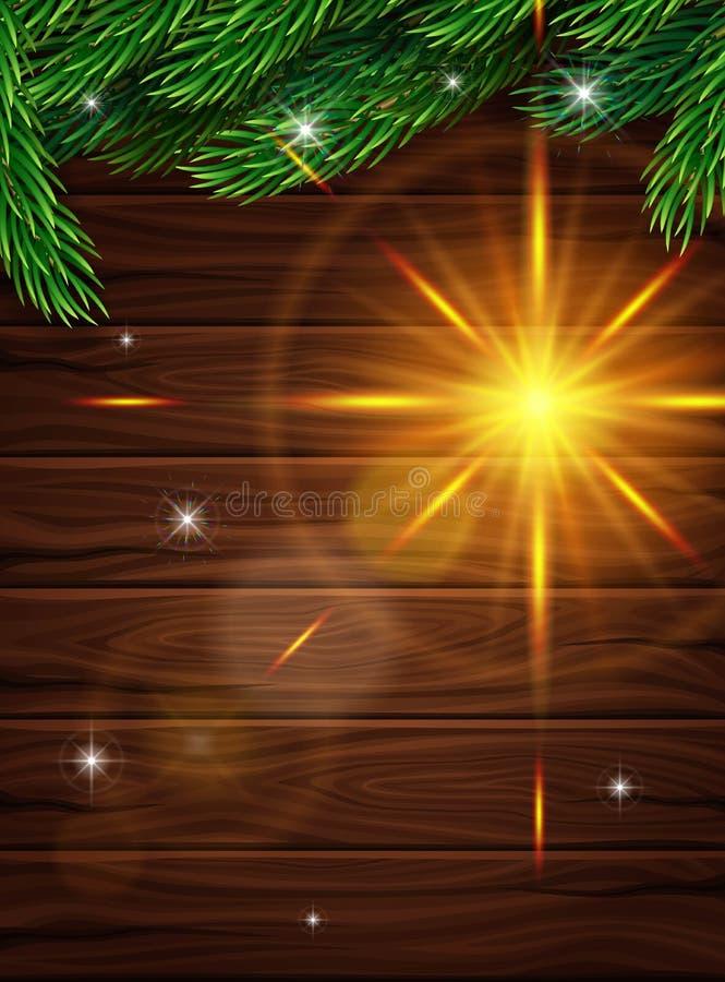 Hoog - kwaliteits realistische affiche voor Kerstmis Realistische spartakken op de achtergrond van donkere houten planken vector illustratie