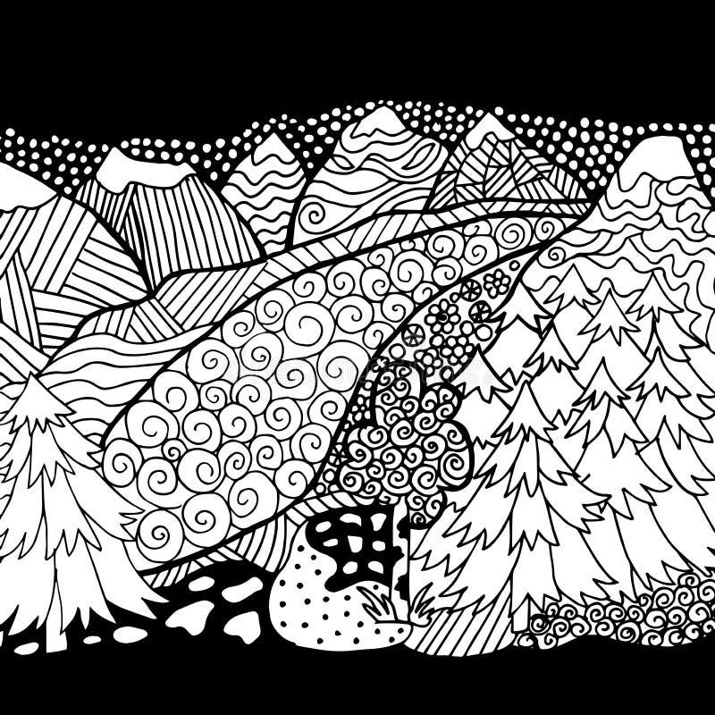Hoog - kwaliteitsberg en boskleuring voor volwassene stock illustratie