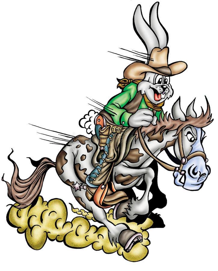 Hoog - kwaliteitsillustratie van de cowboymascotte van het konijntjeskonijn, dekking, achtergrond, behang stock illustratie