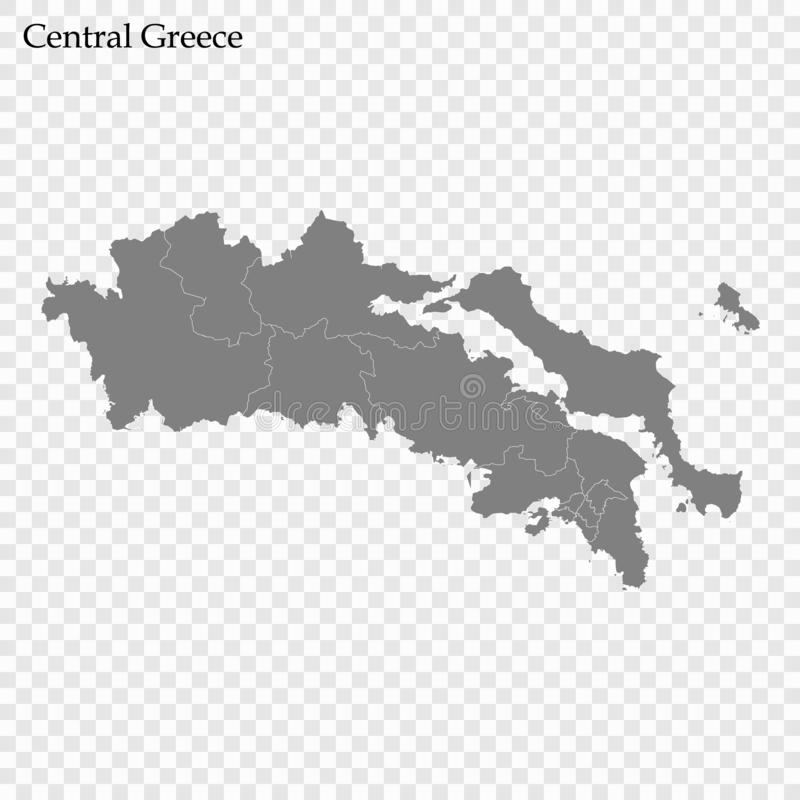 Hoog - kwaliteitskaart van gebied van Griekenland stock illustratie