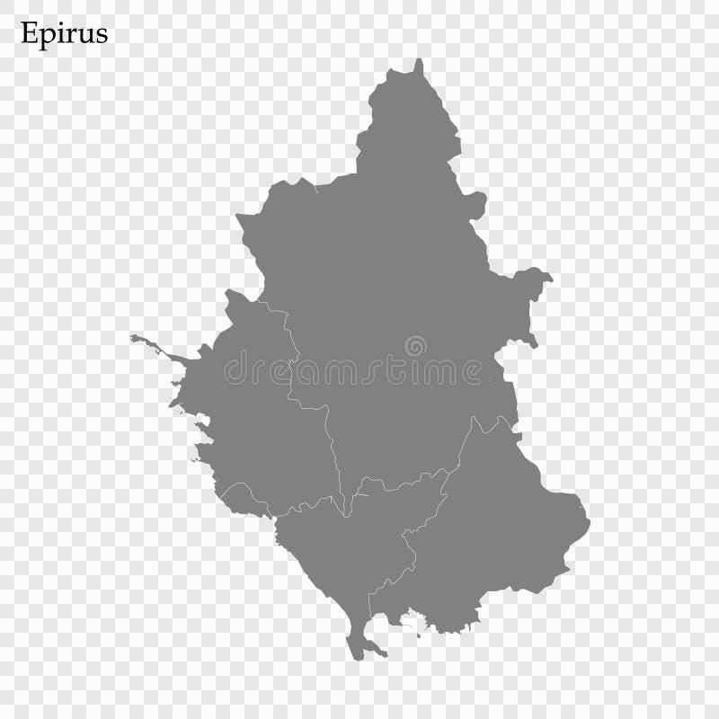 Hoog - kwaliteitskaart van gebied van Griekenland vector illustratie