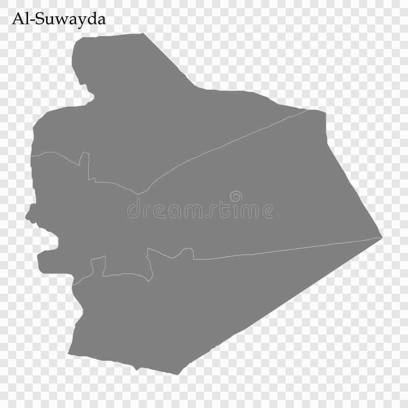 Hoog - kwaliteitskaart van gouvernement van Syrië royalty-vrije illustratie