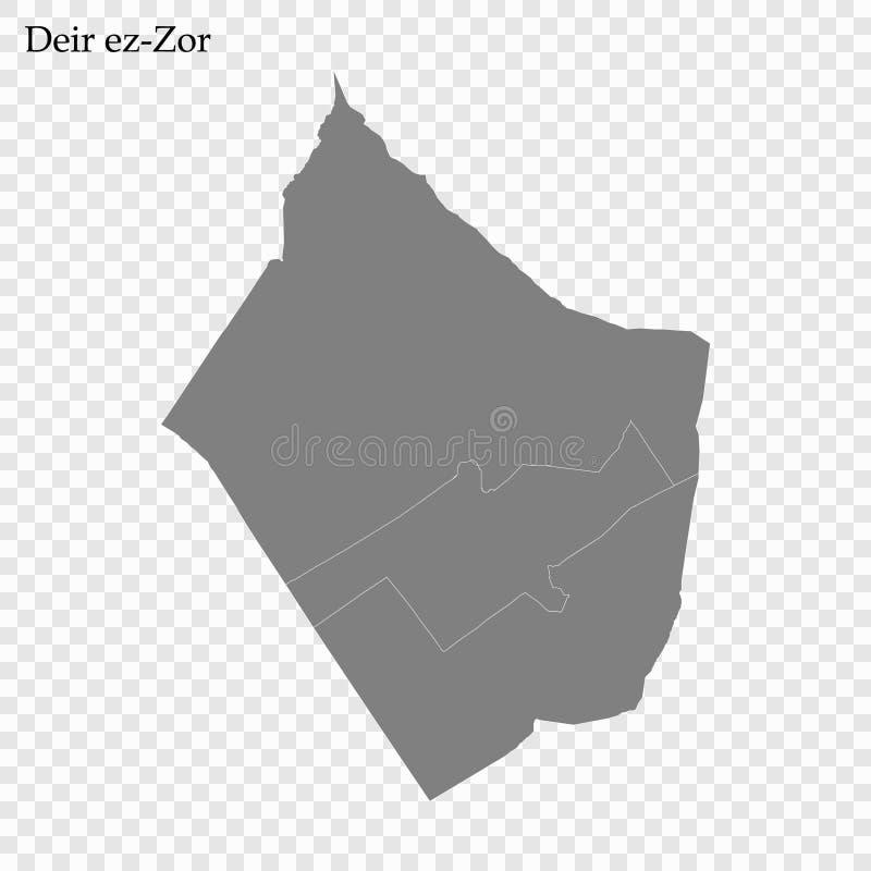 Hoog - kwaliteitskaart van gouvernement van Syrië stock illustratie
