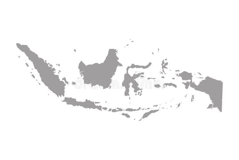 Hoog - kwaliteitskaart van Indonesië met grenzen van de gebieden op witte achtergrond stock illustratie