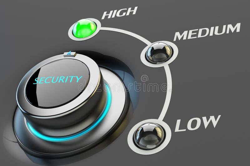 Hoog niveau van veiligheid en veiligheidsgradatieconcept, de montages van de computerfirewall stock illustratie