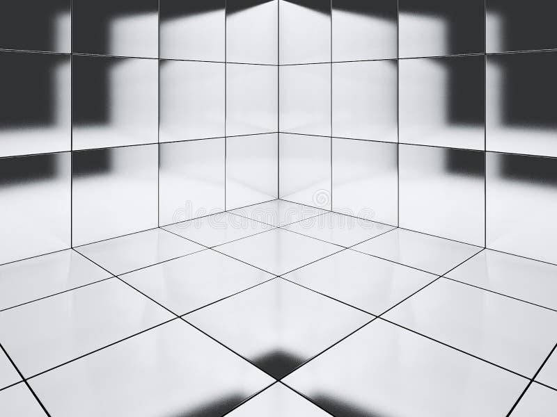 Hoog polijst de hoek van de tegelvloer het 3D teruggeven - Illustratie vector illustratie