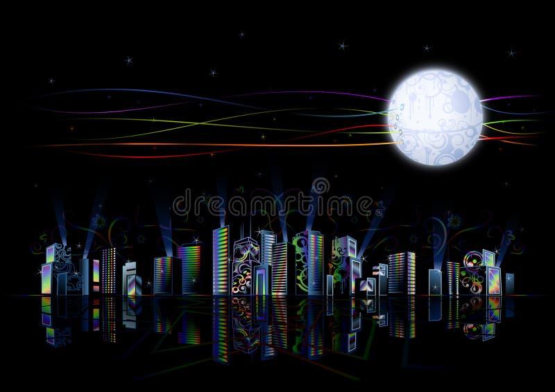 Hoog - stad van de technologie de futuristische regenboog
