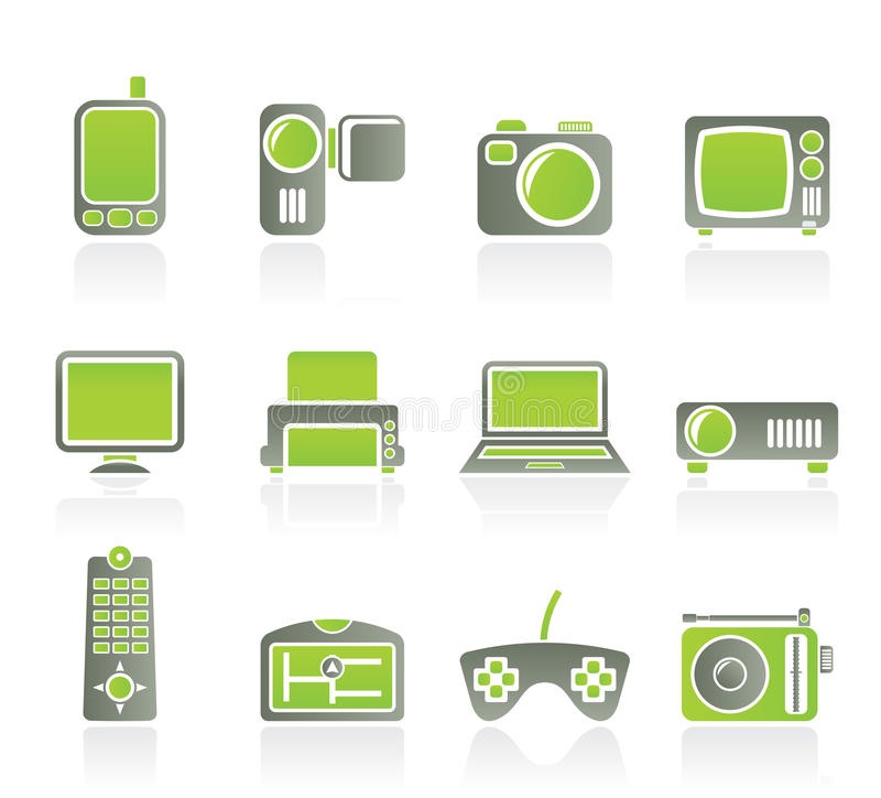 Hoog - technologie technische apparatuur pictogrammen royalty-vrije illustratie