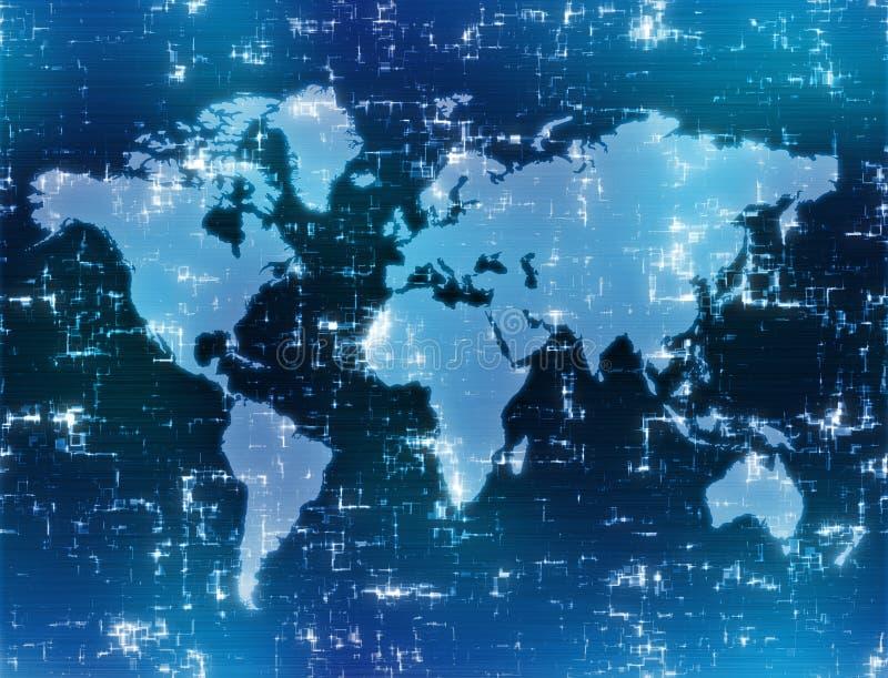 Hoog - technologiekaart van de wereld royalty-vrije illustratie