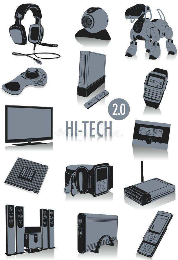Hoog - technologiesilhouetten 2 vector illustratie