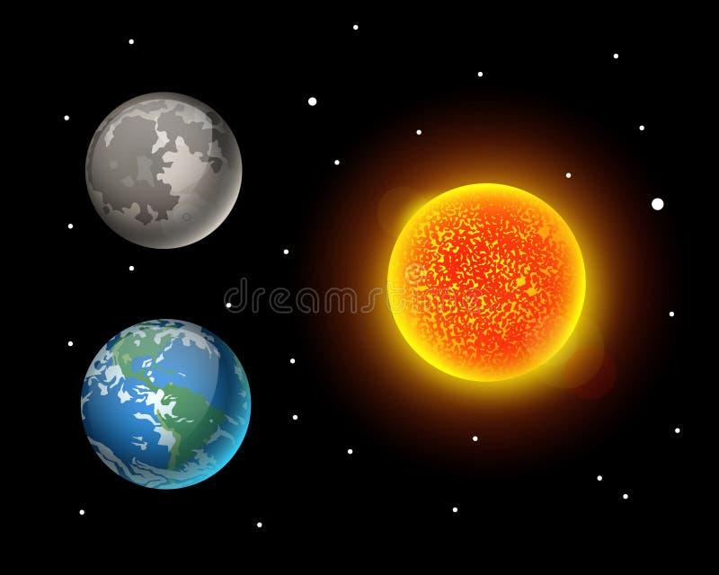 Hoog - van de de planeetmelkweg van de kwaliteitszon van de astronomieaardwetenschappen van de de bolbaan de ster vectorillustrat royalty-vrije illustratie