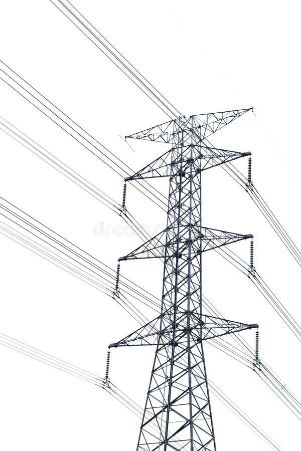 Hoogspannings post of Met hoog voltage die toren op wit wordt geïsoleerd royalty-vrije stock afbeelding