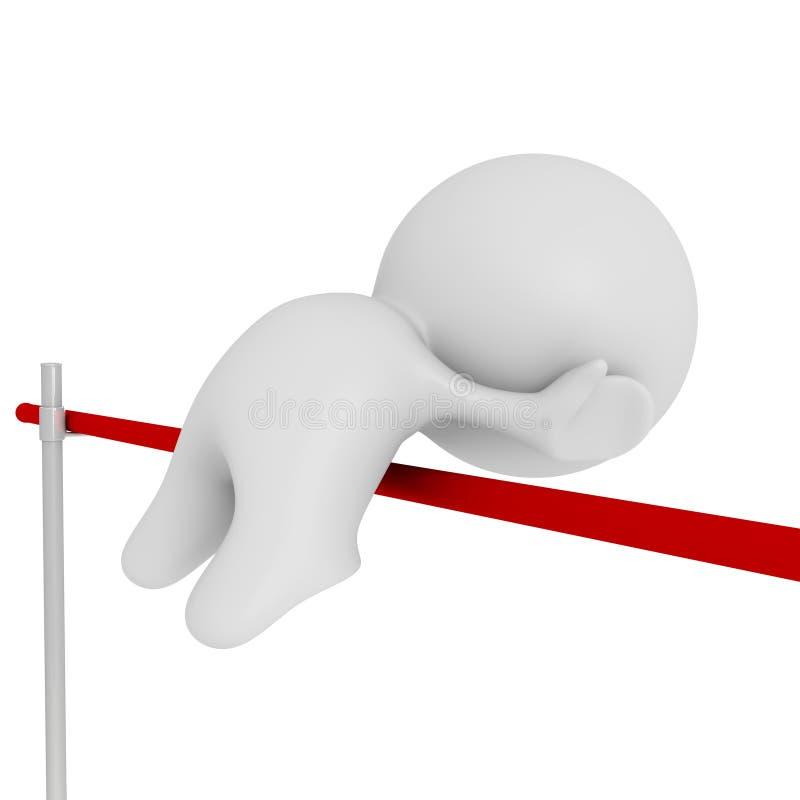 Hoogspringen wit menselijk 3d karakter vector illustratie