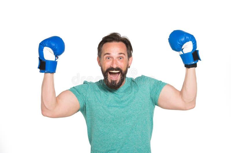 Hoogst emotionele bokser die met overwinning worden tevredengesteld stock afbeeldingen