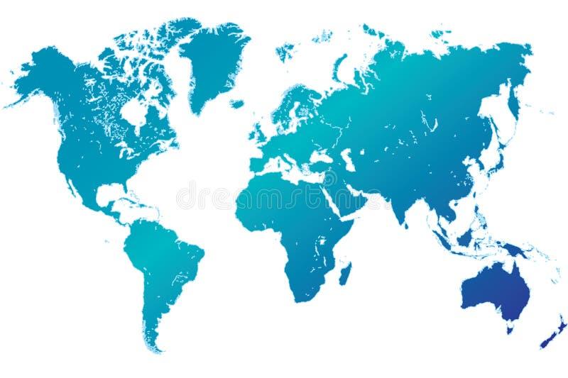 Hoogst gedetailleerde blauwe wereldkaart stock illustratie