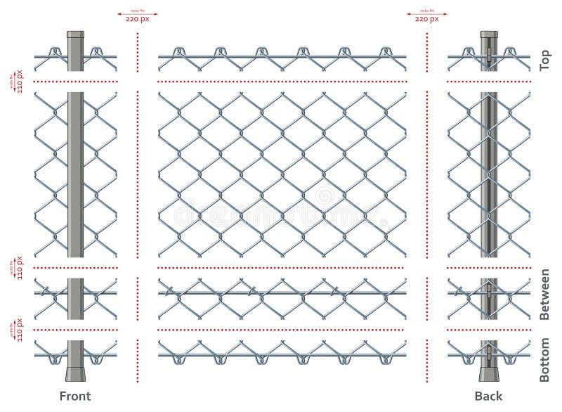 Hoogst gedetailleerde geeft de ketting-verbinding omheining zonder gradiënten, naadloos na snel uit vector illustratie