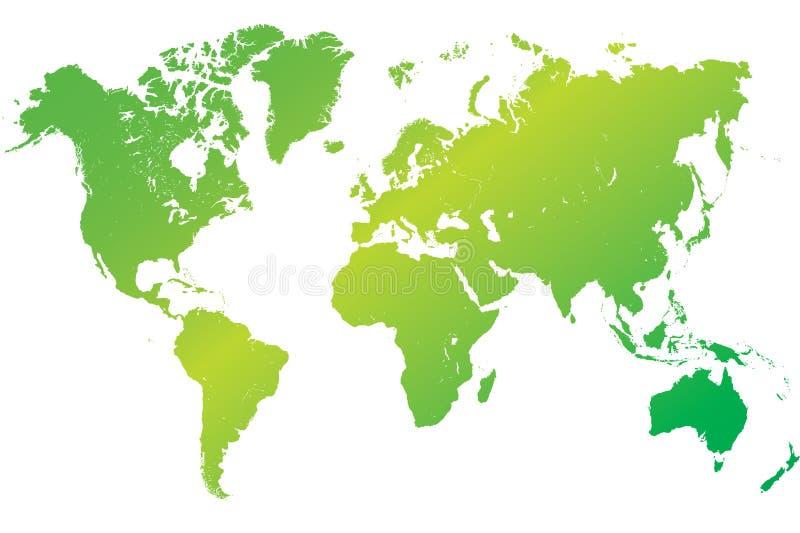 Hoogst gedetailleerde groene wereldkaart stock illustratie