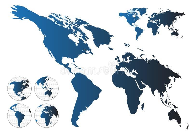 Hoogst gedetailleerde kaart van de wereld stock illustratie