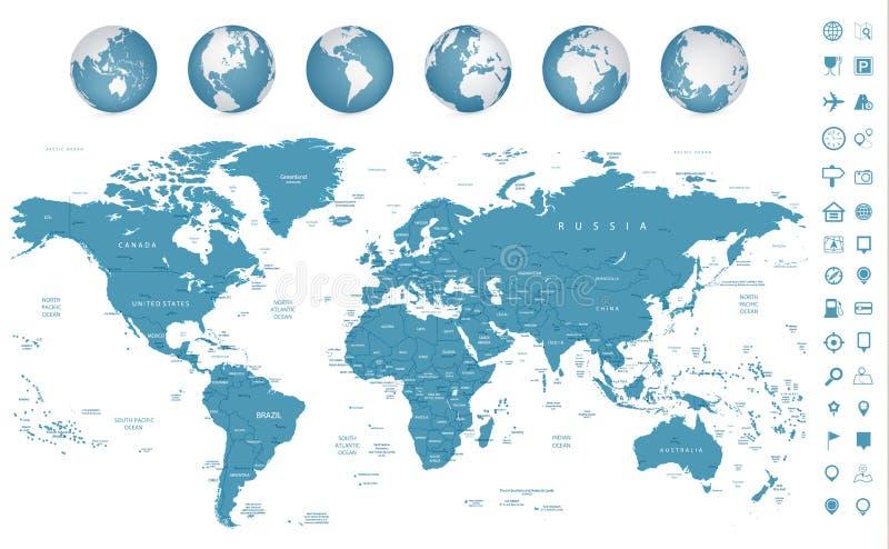 Hoogst gedetailleerde van de Wereldkaart en navigatie pictogrammen royalty-vrije illustratie