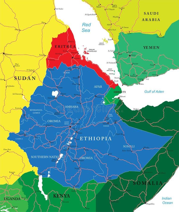 De kaart van Ethiopië vector illustratie