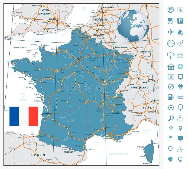 Hoogst gedetailleerde wegenkaart van Frankrijk met navigatieetiketten stock illustratie