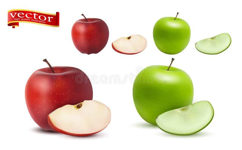 Hoogst realistische vector rijpe sappige rode en groene appelen met plakken, natuurlijke textuur stock illustratie