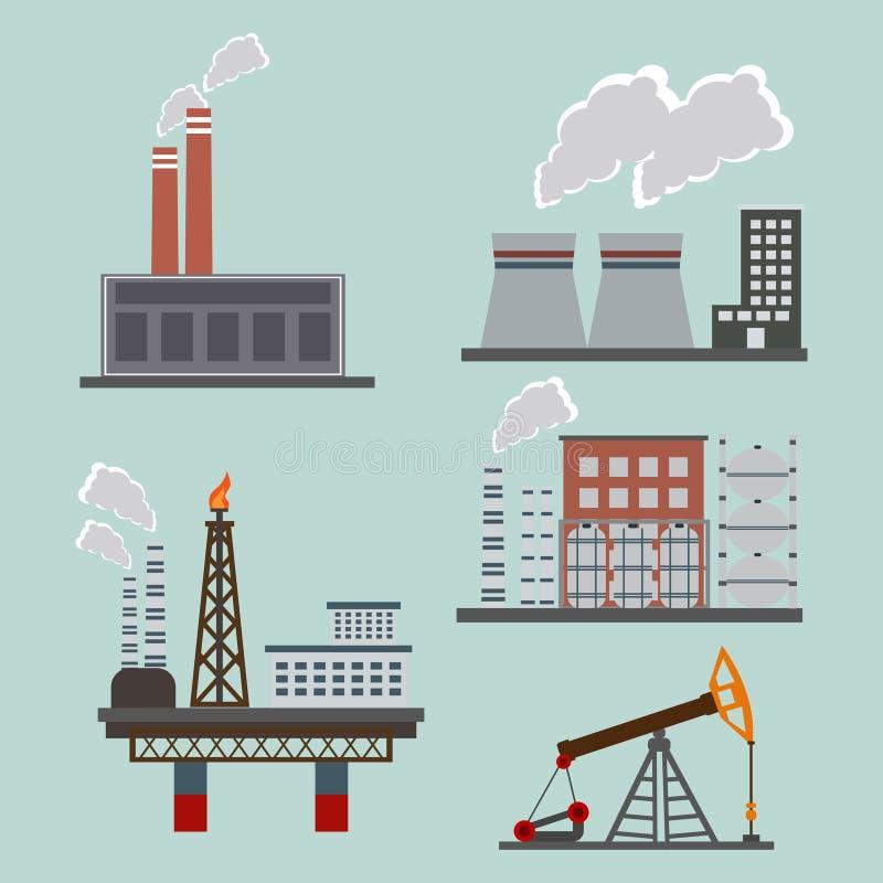 Hoogst verontreinigende fabrieksinstallatie met rokende torens en pijpen Kooldioxide-emissies Milieuverontreiniging vlak royalty-vrije stock foto