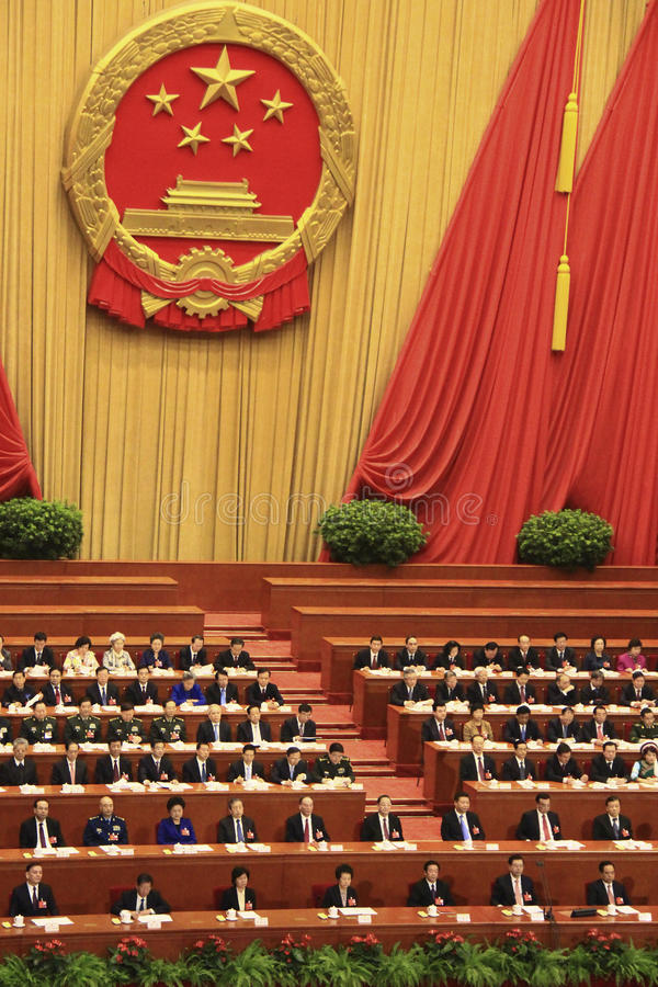 Hoogste Chinese leiders die het parlementsvergadering bijwonen stock foto