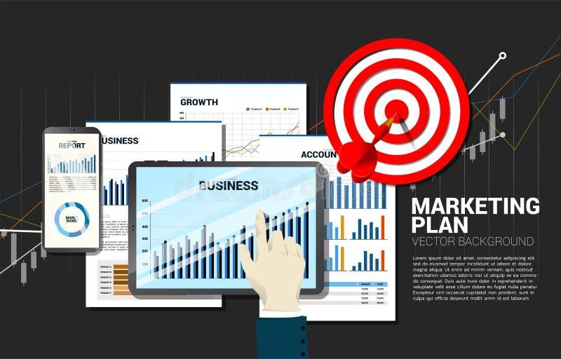 Hoogste de aanrakings van de bedrijfs meningshand rapport in tablet en mobiele telefoon met document en pijltjedoel stock illustratie