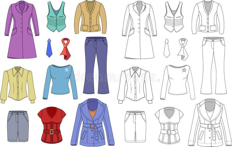 Hoogste de klereninzameling van de managervrouw vector illustratie