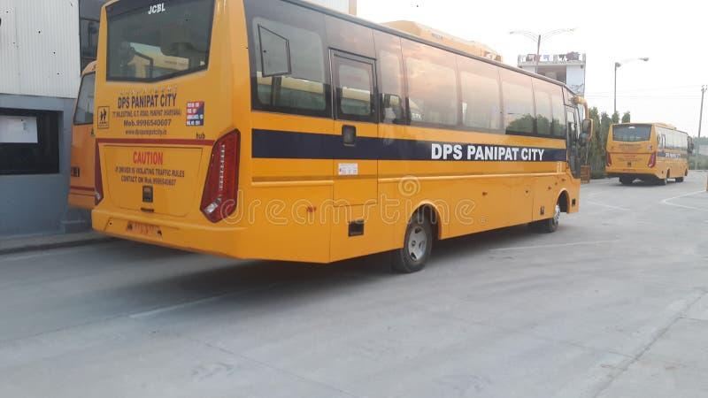 Hoogste die luxeschool buse door bharatbenz wordt gemaakt royalty-vrije stock foto's