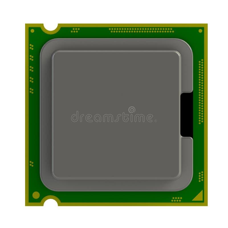 Hoogste die mening van cpu-CPUmicrochip op witte achtergrond wordt geïsoleerd royalty-vrije illustratie