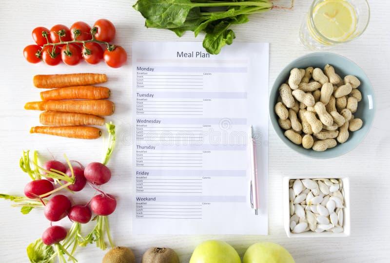 Hoogste die mening van steekproef van maaltijdplan door verse organische en gezonde goederen wordt omringd Concept het gezonde et royalty-vrije stock foto