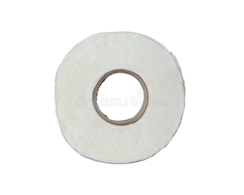 Hoogste die meningsbroodje van toiletpapier op witte achtergrond wordt geïsoleerd stock foto's