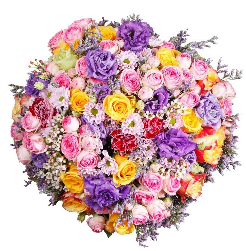 Hoogste geïsoleerde mening van grote bos van bloemen stock foto