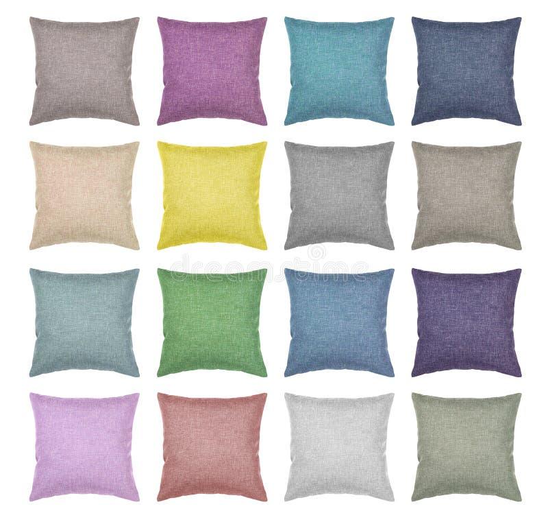 Hoogste geïsoleerde mening van kussens de verschillende kleuren stock fotografie
