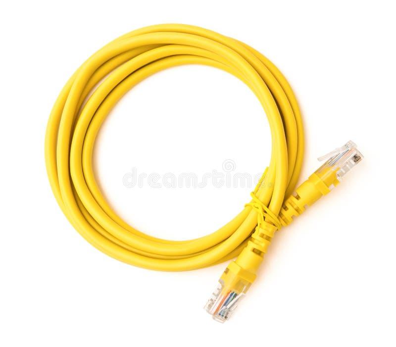 Hoogste het netwerk verbindende kabel van de menings gele RJ45 computer met het knippen van weg stock fotografie