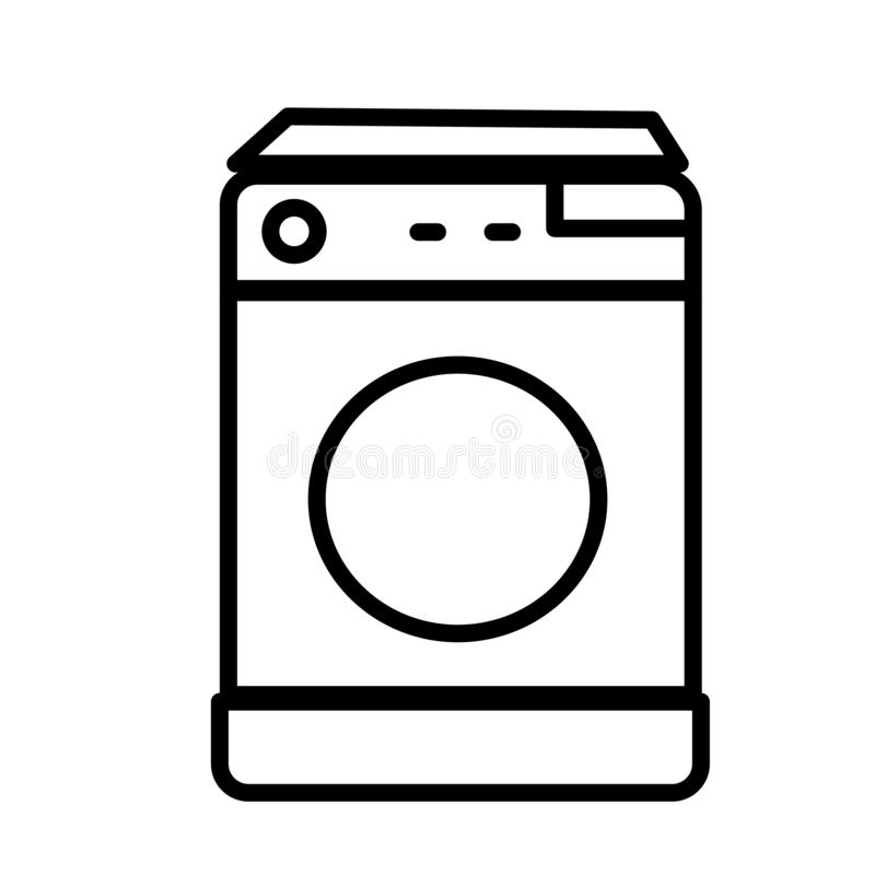 Hoogste het pictogram vectordieteken en symbool van de ladingswasmachine op witte achtergrond, Hoogste het embleemconcept wordt g vector illustratie