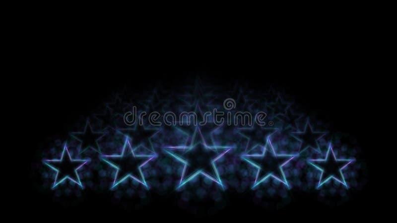 Hoogste kwaliteitsclassificatie Evaluatie en classificatie Vijf blauwe neonlichtsterren op zwarte achtergrond stock illustratie