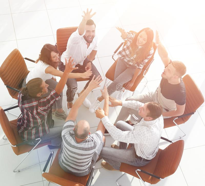 Hoogste mening, creatief team door uw succes te tonen royalty-vrije stock afbeelding