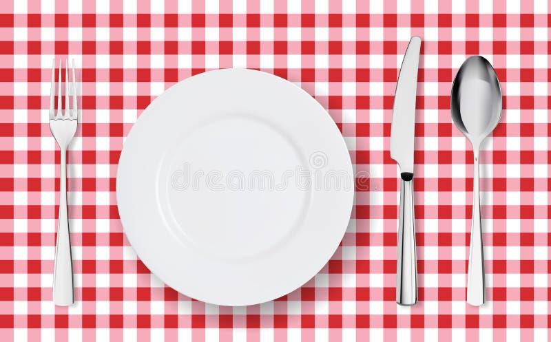 Hoogste mening die van lijstplaats voor diner op rood tafelkleed met leeg plaatglazen en bestek plaatsen royalty-vrije illustratie