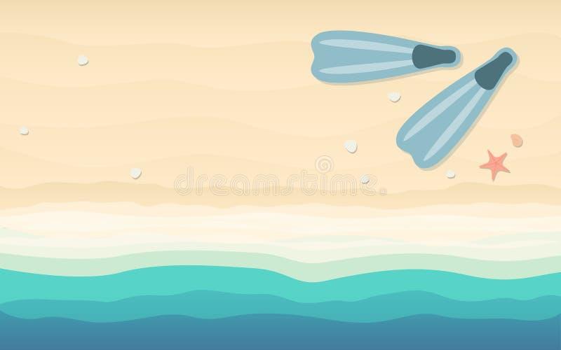 Hoogste mening die van vinnen in vlak pictogramontwerp op strandachtergrond snorkelen royalty-vrije illustratie